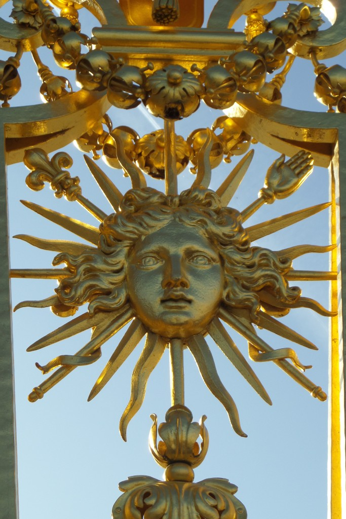 DETAIL. GOLDEN MASK OF THE SUN GOD, APOLLO, USED BY LOUIS XIV FOR HIS PERSONAL SYMBOL AS THE SUN KING.