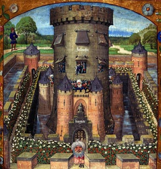 "The castle of Jealousy,15th. From ""Le Roman de la Rose"", (The Story of the Rose). Harl.4425.fol.39 (detail)"